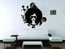 Ebony Wall Sticker Mural Decal Vinyl Decor Beautiful Woman Glasses Salon African