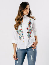 White Embroidered Cotton Shirt in white