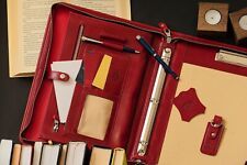 3 ring binder, professional portfolio red, leather clipboard, document holder