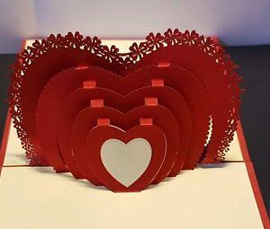 3D Pop up RED HEART Card.(Birthday, Engagement, Anniversary, Wedding,Blank card)