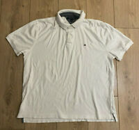 Tommy Hilfiger Men's Polo T Shirt White Large Short Sleeve 100% Cotton