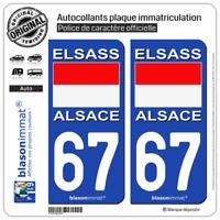 2 Stickers de plaque d'immatriculation auto | 67 Alsace - Drapeau Historique