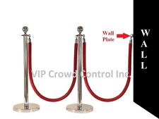 """Rope Stanchion, 5 Pcs Set, Crown Top And Mirror Polish S.S. 12"""" Flat Base"""