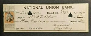 ANTIQUE 1872 NATL UNION BANK BOSTON MASS $500 CHECK W/REVENUE STAMP!-d4818thx