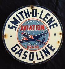 VINTAGE SMITH-O-LENE GASOLINE / MOTOR OIL PORCELAIN GAS PUMP SIGN