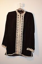 Bohemian Unisex Moroccan brown velour embroidered tunic size M - L brand new