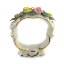 Capidimonte Napkin Rings Floral Rose Porcelain Vtg Set of 6 Signed Hand Painted