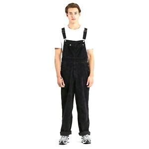 New Levi's Silver Tab Mens Black Classic Overalls Soft Corduroy Jumpsuit Pants M