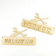 Türschild für Heimwerker mit Wunschnamen, Buchstaben 18cm Holz Werkzeug