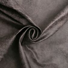 Aged Brown Distressed Antiqued Suede Faux Leather Leatherette Upholstery Fabric Steel Grey