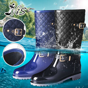 Nis Womens Waterproof Rain Snow Boots Anti Slip Side Buckle Rubber Garden