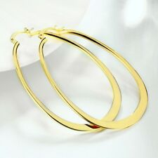 14 KT YELLOW GOLD PLATED OVAL HOOP EARRINGS ITALY