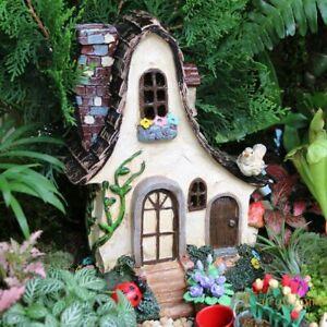 Fairy House Large Rustic Miniature Garden Cottage With Ladybug  Bird Resin Fairy