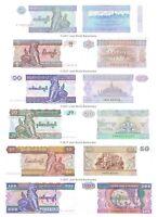 Burma / Myanmar 1 + 5 + 10 + 20 + 50 + 100 Kyats Set of 6 Banknotes 6 PCS UNC