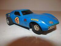 VINTAGE 1968 ELDON SLOT CAR - BLUE CORVETTE - CUSTOMIZED - WIDE REAR SLICK TIRES
