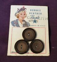 "*Vintage Bonnie Heather Set 3 Brown Plastic Buttons on Original Card 7/8"""