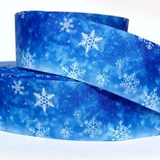 "Grosgrain Ribbon 5/8"", 7/8"", 1.5"", 3"" Snowflakes Christmas White & Blue Printed"