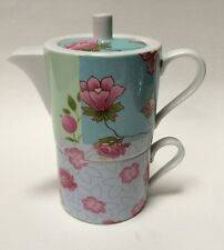 Allie + Cesca Spring Garden Patchwork Tea for One Set Floral Stacked Teapot Cup