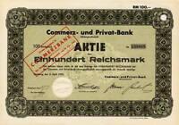 Commerz- und Privat - Bank Hamburg historische Aktie 1932 Commerzbank Frankfurt