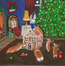 Print Of Painting Ryta Pembroke Welsh Corgi Christmas 8X8 Gingerbread House Art
