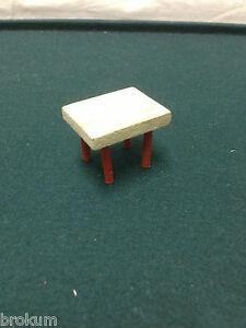Dollhouse Miniature Wood Red & White Stool ~Antique Kitchen  Furniture ~Germany