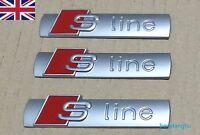 3 PCS S Line Emblem Chrome Matt Badge Sticker For AUDI A3 A4 A6 S4 RS4 S3 S4 TT