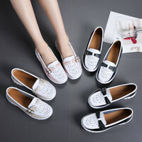 Womens Casual Real Leather Hollowed Loafers Ladies Comfy Slip On Pump Shoes US 9