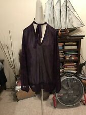 Michael Kors NEW Sheer Purple Feather Bow Tie V-Neck Blouse Sz 3X Retail $89.00