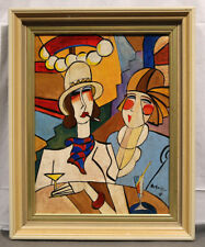 """Early 20th Cen. Oil """"Two Ladies Having a Drink"""" signed Hugó Scheiber (Hungarian)"""