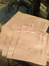 Vintage Imported Damask PinkTablecloth 60x80-8 Napkin Set Japan - cotton/rayon