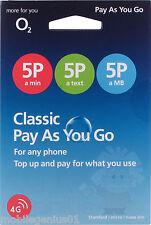 O2 Classic PAYG pagamento a servizio Triple Cut Mini/Micro/Nano SIM-NUOVO