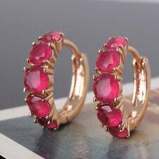 Awesome lady wedding gift !18k gold filled cool charm Garnet huggie earring