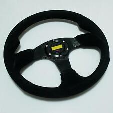 """Universal 350mm Black Suede Racing Steering Wheel 14"""" Sport Leather New 001"""