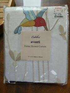 Colibri standard Shower Curtain 72 x 72 180cm x 183cm polyester embroidered blue
