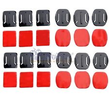 US 12Pcs Helmet Accessories Flat Curved Adhesive Mount For Gopro Hero 5 4 3+ 2 1