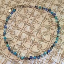 NEW ADI JEWELRY NECKLACE 5mm small blue grey RESIN Bead Glass Crystal Necklace