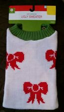 "Dog Christmas Holiday Bows ""Ugly"" Sweater Knitted Pet Costume M Medium Red Green"