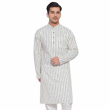 Men Full Sleeve Designer Indian Cotton Long Kurta Casual Wear Printed K 3676