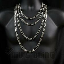 18K White Gold Solid FIGARO CHAIN 316L Stainless Steel Silver Mens Link Necklace