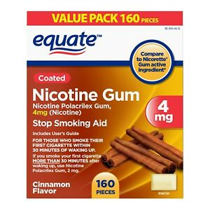 Equate Coated Nicotine Polacrilex Gum, 4 mg, Cinnamon Flavor, 160 Count..