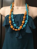 "Vintage 2 Strands Turquoise Brown Textured Beads Necklaces Necklace 30""  #383"