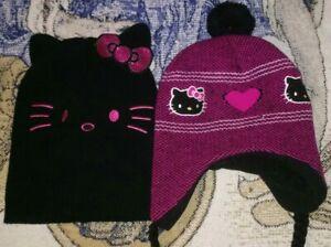 2 Hello Kitty Knit Hat Beanie Cap Black Cat Ears 2016 Sanrio & Pink puffy design