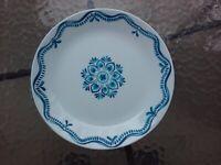 """Corning Corelle Lisbon Terrace 10.25"""" Dinner Plate White Blue Dish"""