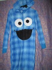nwt Sesame Street Cookie Monster Hoodie Onsie Union Suit Adult Fleece Pajamas XL