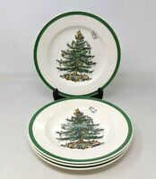 "VTG Spode Christmas Tree Porcelain Set of 4 7 3/4"" Salad Plates England S3324"