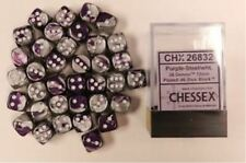 Chessex Dice d6 Sets:Gemini Purple & Steel White 12mm Six Sided 36 Die CHX 26832