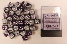 Chessex Dice d6 Sets:Gemini Purple & Steel White 12mm Six Sided 36 Die CHX 26832