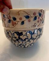 VNTG Blue, White , Pink Spongeware / Spatterware / Stoneware Bowl Vase Planter
