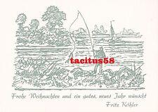 Glückwunschkarte von Fritz Köhler (1887-1972) Maler Druck Weihnachten Angeln See