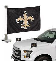 New Orleans Saints NFL Ambassador Car Flag Hood / Trunk 2 Piece Set-New